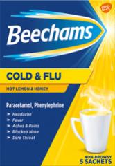 Beechams Cold & Flu Hot Lemon 5's