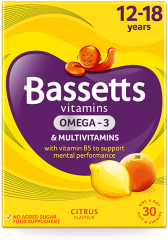 Bassetts Multivitamins Omega 3 - 12 - 18 Years Citrus 30's