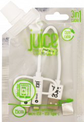 Juice Cable 3in1 15cm Round White
