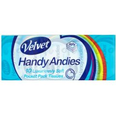 Handy Andies 4 Ply Pocket Tissues 10's - Multipack 10 Pack