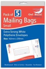 Owl Brand 5 Mailing Bags Small 162 x 230mm Hang Pack