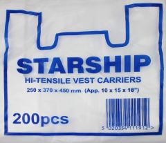 White Vest Carrier Bag Starship 250 x 370 x 450mm