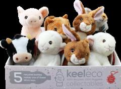 Wholesale Keel Eco Soft Toys Farm Animals in CDU 12cm