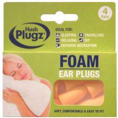 Hush Plugz Foam Ear Plugs 4 Pairs