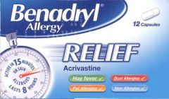 Benadryl Allergy Relief Acrivastine 12 Capsules