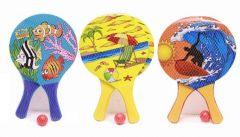 Neon Wooden Beach Bat & Ball 3 Assorted Designs