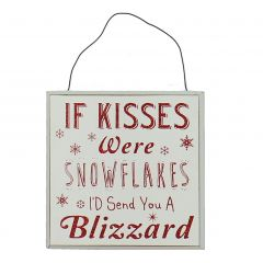 Love Christmas Wall Plaque 13cm 'If Kisses Were'