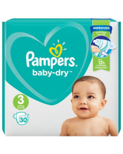 Pampers Baby-Dry Nappies Size 3, 6-10kgs, 13-22lbs 30's