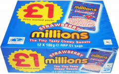Millions Chewy Sweets Strawberry Flavour  £1 PMP 100g