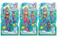 Mermaid Princess - 34cm Mermaid Doll & Seahorse Playset Hang Pack 3 Assorted Colours