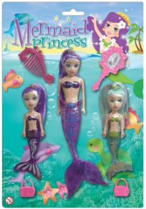 Mermaid Princess - 3 Doll Mermaid Set with Accessories - 22cm & 14cm Dolls