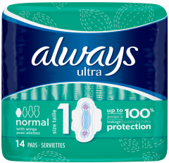 Always Ultra Sanitary Towels Normal Plus With Wings 14's