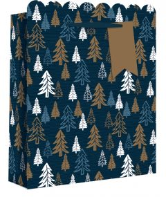 Gift Bag Large Navy Trees
