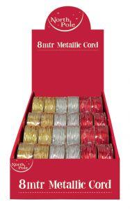 8m Metallic Elastic Cord Assorted Colours CDU