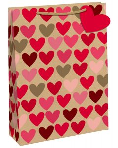 Gift Bag Extra Large - Heart Kraft Wide Gusset
