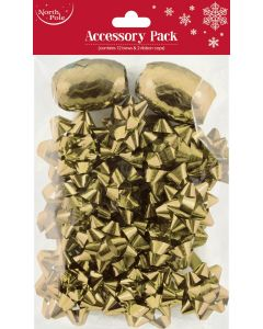 Accessory Pack 12 Bows and 2 Ribbon Cops Gold