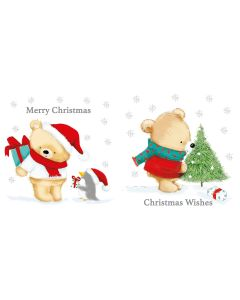 Bears White Kraft Christmas Cards In A Kraft Box 2 Assorted Designs 12's