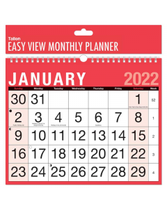 2022 Month To View Easy View Planner Calendar