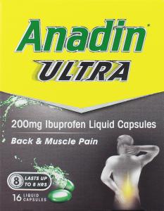Anadin Ultra Ibuprofen Liquid Capsules 200mg 16's
