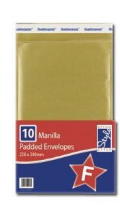 Office Style Padded Envelopes Gold 220mm x 340mm Size F