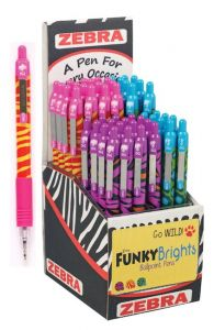 Zebra Z-Grip Funky Brights Retractable Ballpoint Pen Assorted Colours CDU