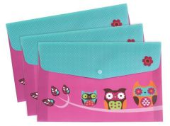 Popper Wallet A4 Owl Designs Pack Of 3