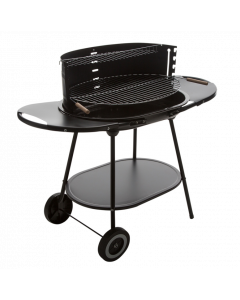 Kingfisher Oval Steel Trolley BBQ - 55 x 40cm Cooking Area