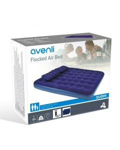 Avenli Flocked Double Airbed with Pillows and Pump