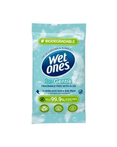 Wet Ones Be Gentle Anti-Bacterial Soft Wipes Biodegradable 12's