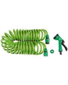 Draper Recoil Hose with Spray Gun and Tap Connector 10m