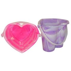 Bucket - Marble Heart Shaped Bucket - 15cm - Assorted Colours